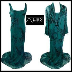 Alex Evenings Silk 2 Piece Beaded Long Dress Sz 16